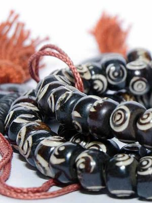 Mala beads used for prayer, Buddhist meditation and mantras. Tibetan prayer beads.