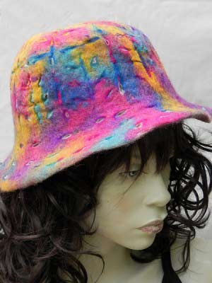 Felt hat with pinks and blues