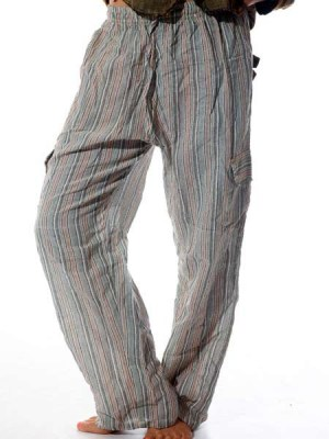 Hippie cargo stripe cotton trousers from Nepal