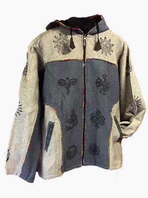 Mens Nepalese block print cotton jackets with full zip and lines with fleece.