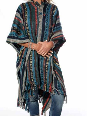 Hippie poncho in Baja style, made from woven heavy cotton.