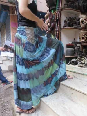 Hippie skirt made using tie dye in shades of blue.
