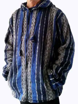 Mens heavy cotton jacket. Handwoven in vertical blue stripes.