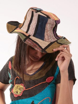 A patchwork pure hemp sun hat from Nepal