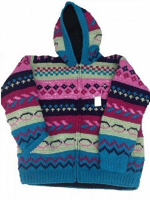 Wool hoodie in pinks and blues hand knitted in Nepal