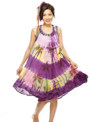 Bohemian hippie tie dye dress made in Nepal in a free size