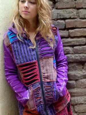 Boho hoodie in patchwork using mixed fabrics and razor cut