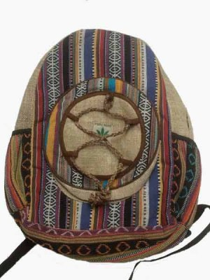 Hemp backpack mixed with hand woven Nepalese gheri cotton. It has an extra round compartment with hemp string design.