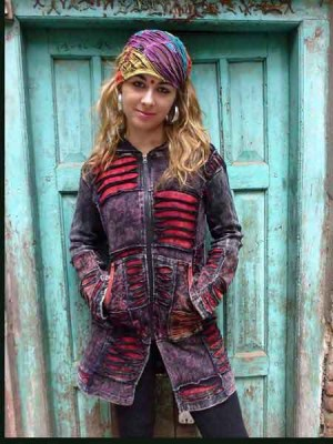 Long hippie hoodie in stonewashed black print, with Nepalese cutwork and maroon underlay.