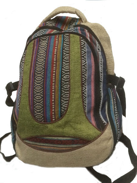 School Backpack Nepalese Woven Design With Hemp Order