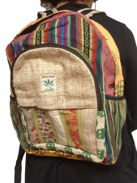 Hippie boho backpack using mixed hemp and tribal woven fabric.