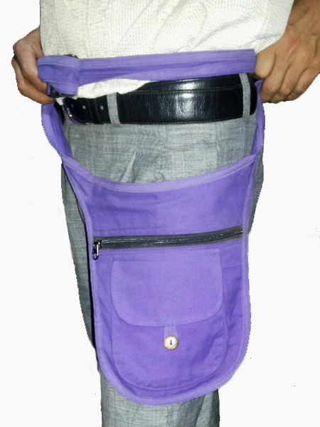 Purple Hippie Pack Or Belt Bag In A Plain Colour Made Nepal