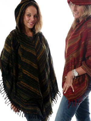 Brushed cotton and acrylic ponchos made from Indian shawls.