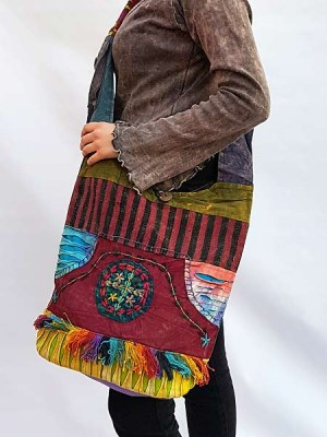 Nepal bohemian cross shoulder bag with razor cut and tassles