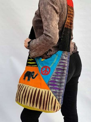 Multicolor sling bag with patchwork peace sign