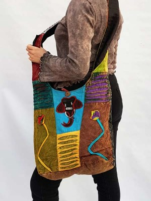 Cotton sling bag with elephant patchwork, made in Nepal