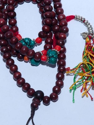 Red wood malas with powder turquoise and coral beads