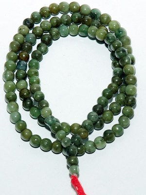 Jade mala beads in an olive green colour consisting of 108 Buddhist prayer beads