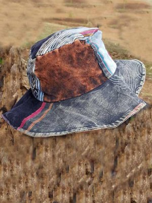 Hippie hat in cotton patchwork and stonewashed