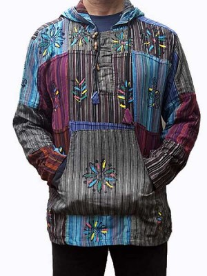 Baja style patch pullover with blockprint and hand painted motifs