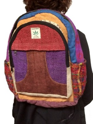 Himalayan backpack made from hemp which has been dyed purple and red. This backpack from the Himalayas is made in patchwork design.