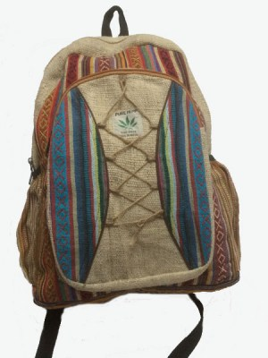 Boho backpack from Nepal with handwoven ethnic designs and multi pocketed.