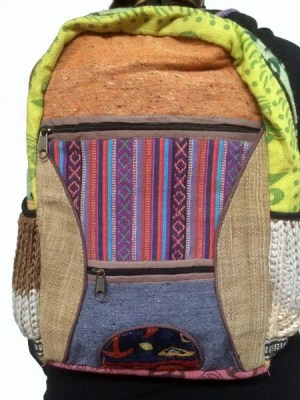 Cotton patch backpack made in Kathmandu, Nepal