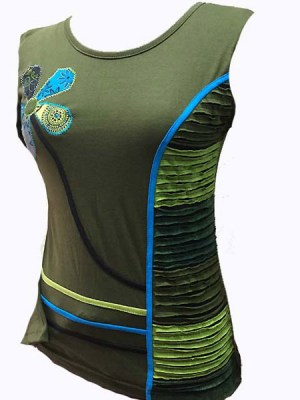Army green hippie-chic sand top with cutwork and flower