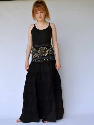 Long bohemian dress with embroidery