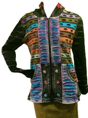 Long razor cut Nepalese hoodie in mixed patch colours