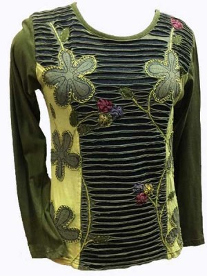 Nepal top in army green with razor cutwork and patch flowers