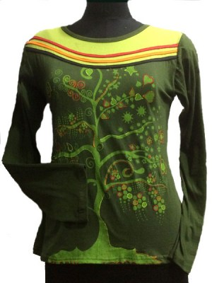 Tree of life design on this army green long sleeve top.