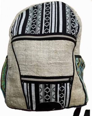 Hippie knapsack mixing pure Nepalese hemp and gheri cotton in tribal black and white designs.