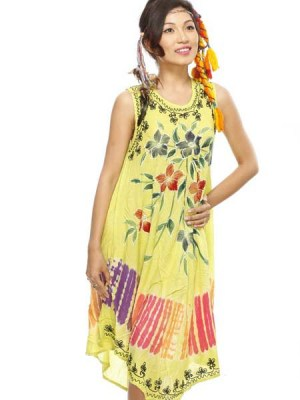 Tie dye batik dress in yellow.
