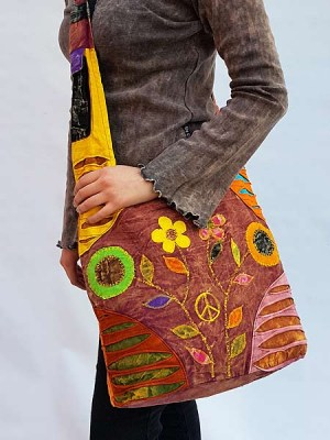 Hippie boho cross body bag with patch flowers and razor cutwork