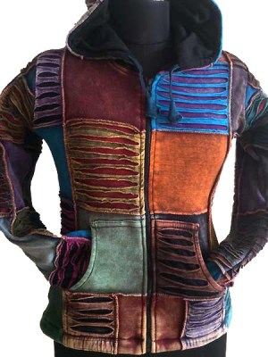 Patchwork Nepalese hoodie which has been stonewashed to give earthy tones. Lined with fleece.