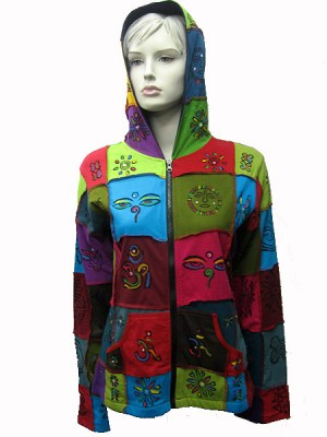 hand painted patchwork hippie hoodie clothing