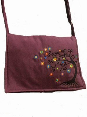 Boho bags, embroidered tree of life design