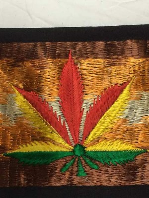 Rasta wallet with embroidered marijuana leaf from Nepal