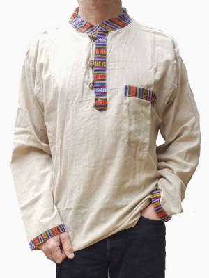 Cream colour ethnic mens shirt made in Nepal with Bhutani edging