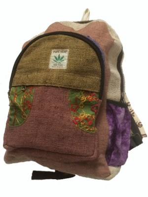 Hippie style hemp backpack from Thamel in Kathmandu, Nepal. Earthy colours and embroidered patches with numerous pockets.