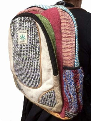 Patch hemp and cotton rucksack made in Nepal