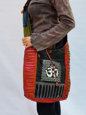 Ohm sign sling monk bag from Nepal with razor cut sides