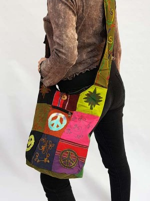 Patchwork Nepal hobo bag with peace signs