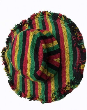 Rasta striped woven cotton hat made in Nepal