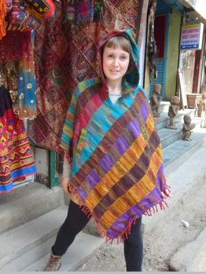 Nepali festival hooded striped poncho