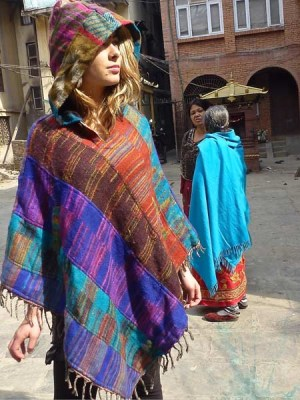 Patch hooded poncho made in Kathmandu, Nepal