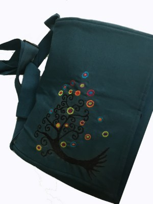 Bohemian shoulder bag with tree of life embroidered design