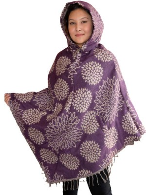 Ethnic acrylic and cotton hippie style ladies poncho