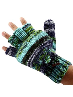 Hand knitted woolen hunter gloves from Nepal
